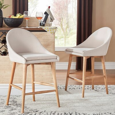 Prism 24 Bar Stool Finish: Walnut, Upholstery: Beige