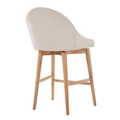 Prism 24 Swivel Bar Stool Finish: Natural, Upholstery: Beige