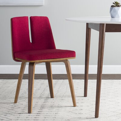 Atnip Unique Upholstered Side Chair Upholstery: Red