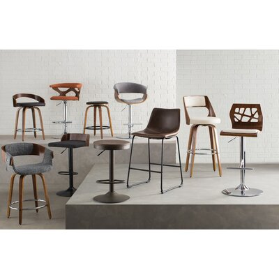 Harvey 24.5 Swivel Bar Stool Footrest Finish: Chrome, Upholstery: Walnut / Brown