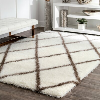 Bronson Plush Brown/Cream Area Rug Rug Size: Rectangle 53 x 76
