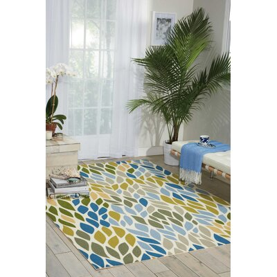 Cadet Blue/Brown Indoor/Outdoor Area Rug Rug Size: Rectangle 53 x 75