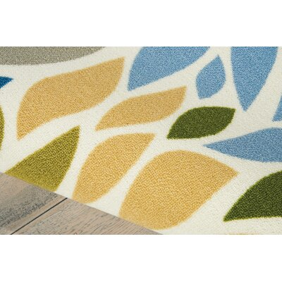 Cadet Blue/Brown Indoor/Outdoor Area Rug Rug Size: Rectangle 44 x 63