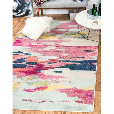 Brister Pink Area Rug Rug Size: Rectangle 106 x 165