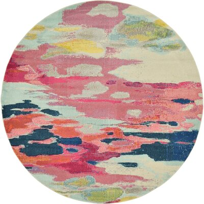 Brister Pink Area Rug Rug Size: Round 8