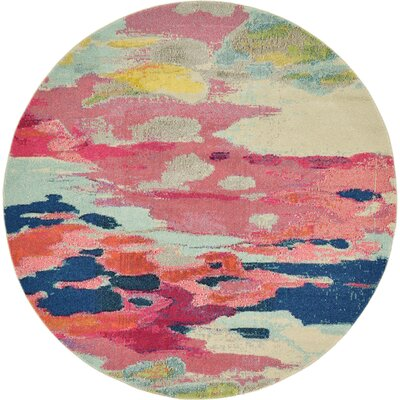 Brister Pink Area Rug Rug Size: Round 6