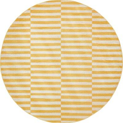 Braxton Yellow Area Rug Rug Size: Round 8