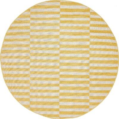 Braxton Yellow Area Rug Rug Size: Round 5