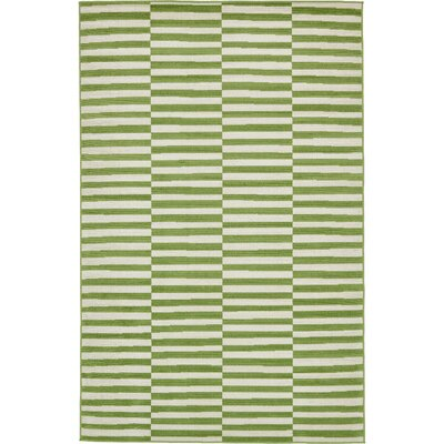 Braxton Grass Green/White Area Rug Rug Size: Rectangle 6 x 9