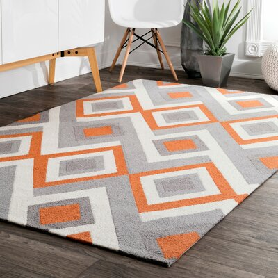 Isenberg Hand-Hooked Orange/Gray Area Rug Rug Size: Rectangle 6 x 9
