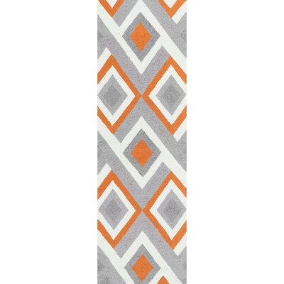 Isenberg Hand-Hooked Orange/Gray Area Rug Rug Size: Runner 26 x 8
