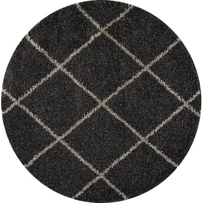 Psyche Charcoal Area Rug Rug Size: Round 5'