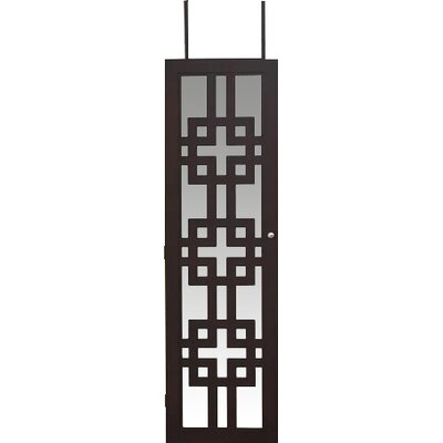 Modern Over The Door Jewelry Armoire with Mirror Color: Black