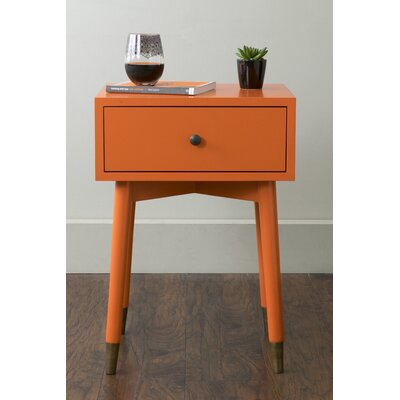 Blubaugh End Table With Storage� Color: Orange