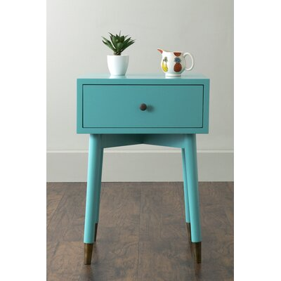 Pellston End Table With Storage� Color: Turquoise