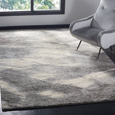 Vulpecula Gray and Ivory Area Rug Rug Size: Rectangle 6 x 9