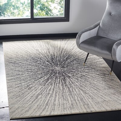 Bayview Black/Ivory Area Rug Rug Size: Rectangle 51 x 76