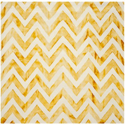Crux Hand-Tufted Ivory / Gold Area Rug Rug Size: Square 7 x 7