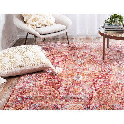 Carrico Oriental Red Area Rug Rug Size: Rectangle 6 x 9