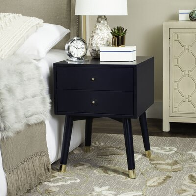 Ables 2 Drawer Nightstand Color: Navy/Gold