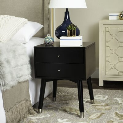 Ables 2 Drawer Nightstand Color: Black