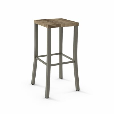 Athanas 24 Bar Stool Color: Matte Light Grey Metal/Beige Wood