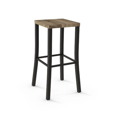 Athanas 30 Bar Stool Color: Textured Dark Brown Metal/Beige Wood