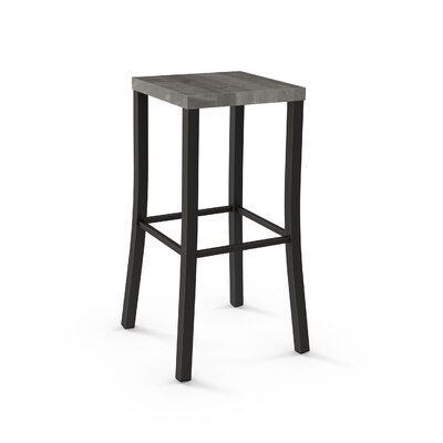 Athanas 24 Bar Stool Color: Textured Dark Brown Metal/Beige Wood