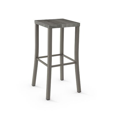 Athanas 24 Bar Stool Color: Textured Dark Brown Metal/Light Grey Wood