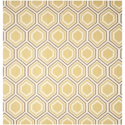 Cassiopeia Hand Woven Ivory/Yellow Area Rug Rug Size: Square 8