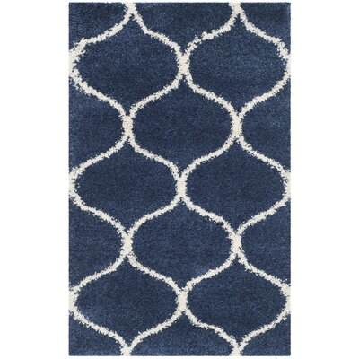 Duhon Shag Navy/Ivory Area Rug Rug Size: Rectangle 3 x 5