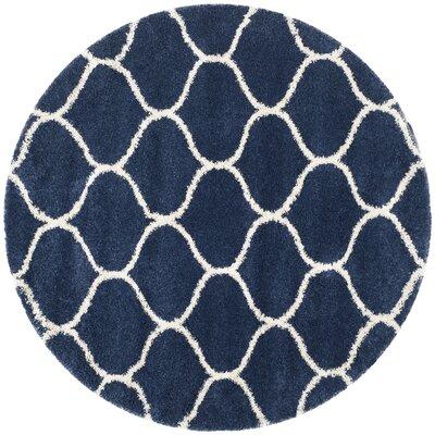 Duhon Shag Navy/Ivory Area Rug Rug Size: Round 7