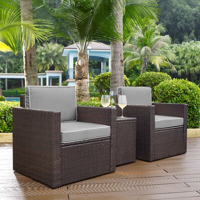 belton 3 piece brown rattan deep seating group with cushions