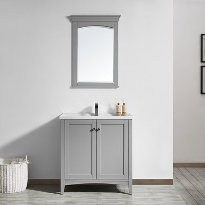Aguilar 30 Single Vanity Set with Mirror Base Finish: Grey