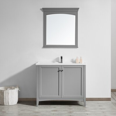 Aguilar 40 Single Vanity Set with Mirror Base Finish: Grey
