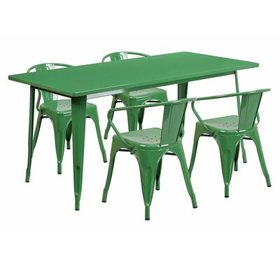 Britton Rectangular Metal 5 Piece Dining Set Color: Green