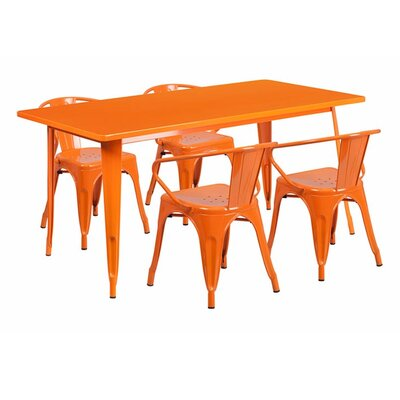 Britton Rectangular Metal 5 Piece Dining Set Color: Orange