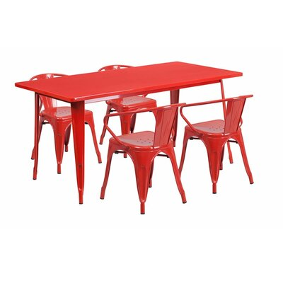 Britton Rectangular Metal 5 Piece Dining Set Color: Red