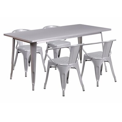 Britton Rectangular Metal 5 Piece Dining Set Color: Silver