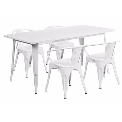 Britton Rectangular Metal 5 Piece Dining Set Color: White