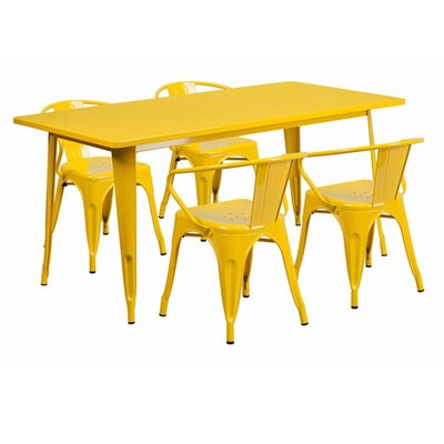 Britton Rectangular Metal 5 Piece Dining Set Color: Yellow