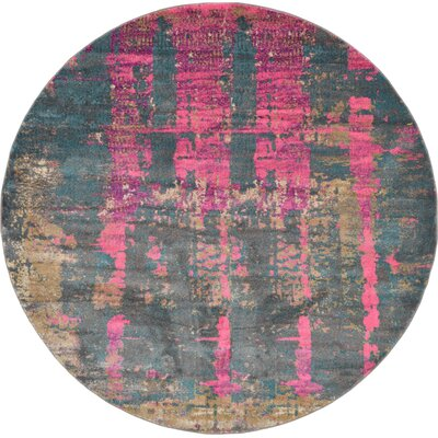 Coakley Pink Area Rug Rug Size: Round 8