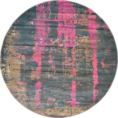 Coakley Pink Area Rug Rug Size: Round 6