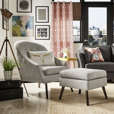 Mu Armchair and Ottoman Upholstery: Gray