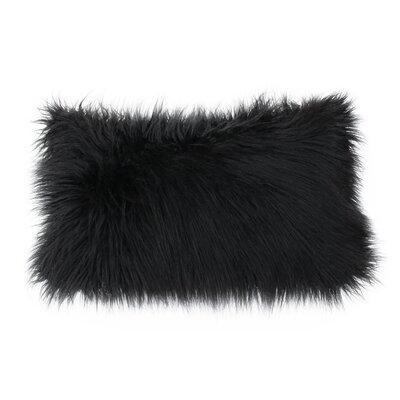 Vanbuskirk Faux Fur Lumbar Pillow Color: Jet Black