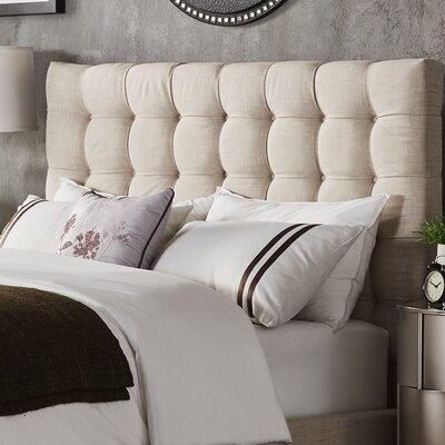 Higham Upholstered Panel Headboard Upholstery: Beige, Size: Queen