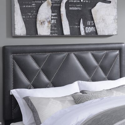 Garnes Upholstered Panel Headboard Size: Full/Queen, Upholstery Color: Steel
