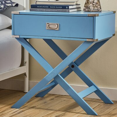 Marotta 1 Drawer End Table Color: Blue