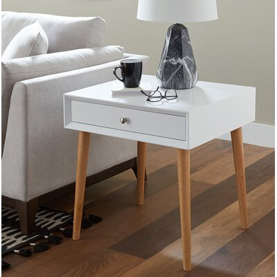 Blakeney End Table With Storage Color: White
