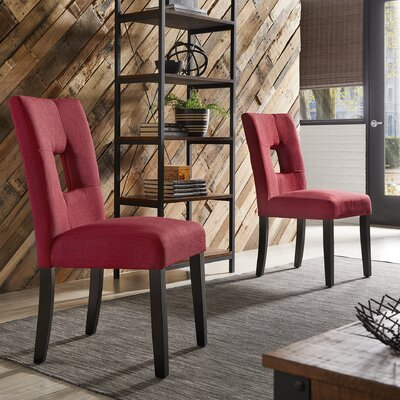 Belvin Upholstered Side Chair Upholstery: Red